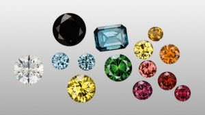 Irradiated Gemstones - Colorless and other diamonds (left) can be artificially irradiated causing a variety of colors. Some of the irradiated colors are then heated as a second step, resulting in additional colors (group right).