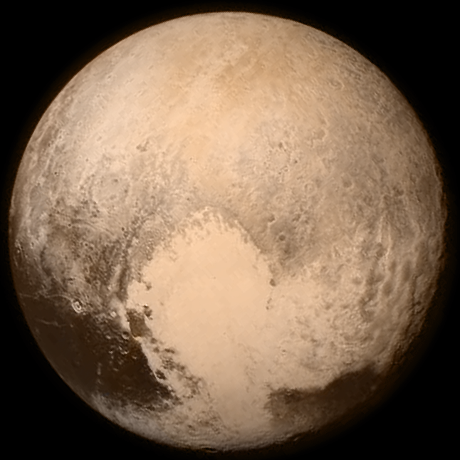Color image of Pluto, photographed by the New Horizons spacecraft on 13 July 2015