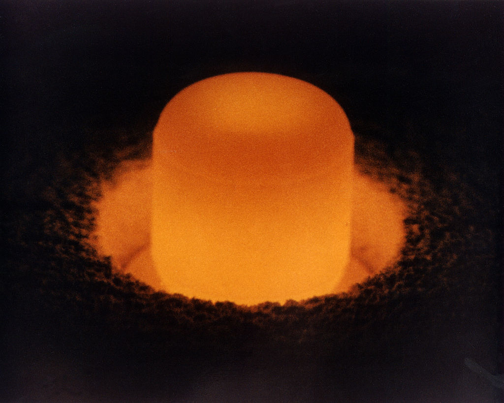 A glowing cylinder of Pu-238