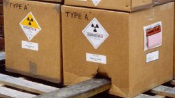 Punctured package containing radioactive material